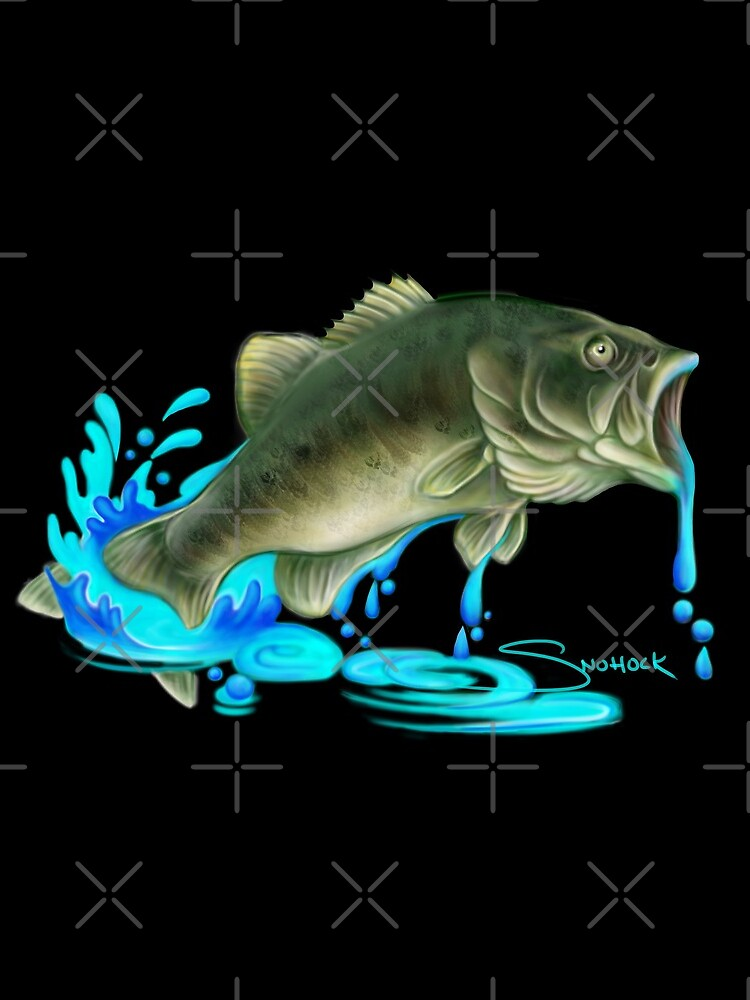 Jumping Bass Fish with Dripping Water by snohock