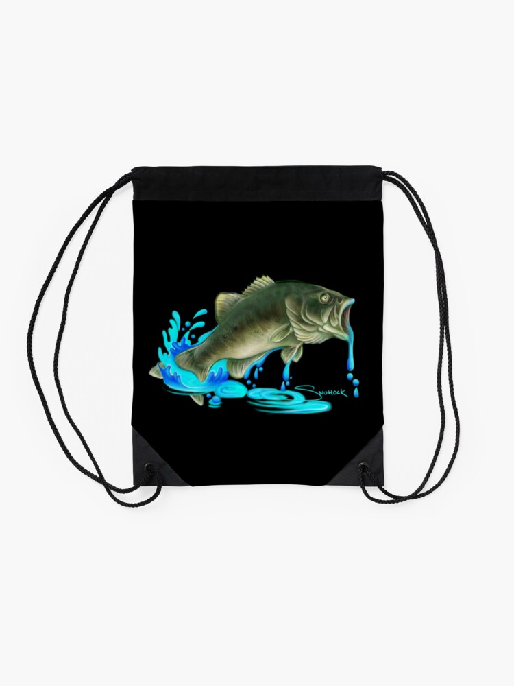 Alternate view of Jumping Bass Fish with Dripping Water Drawstring Bag
