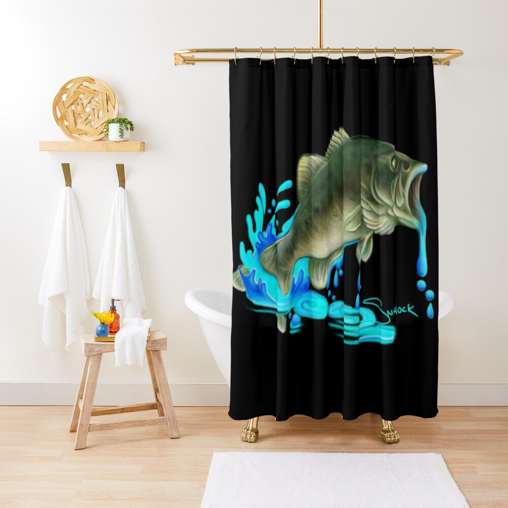 Jumping Bass Fish with Dripping Water Shower Curtain