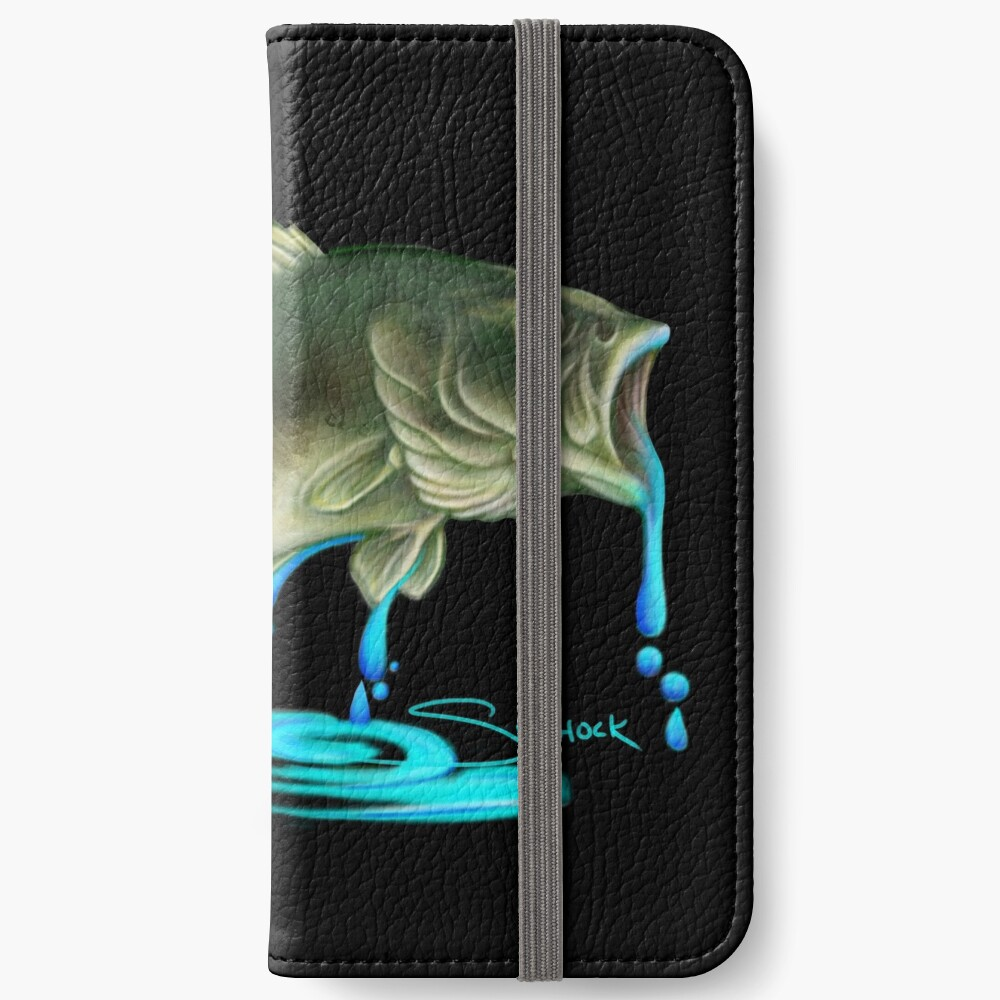 Jumping Bass Fish with Dripping Water iPhone Wallet