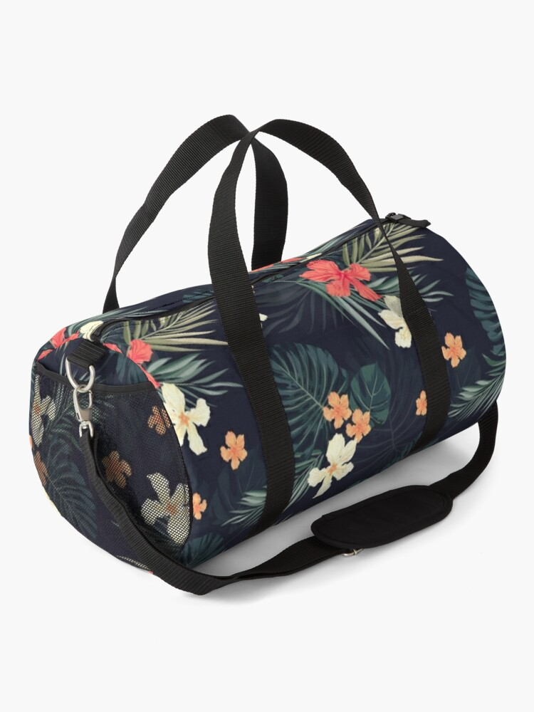 Alternate view of Dark tropical flowers Duffle Bag