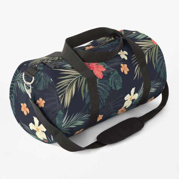Dark tropical flowers Duffle Bag