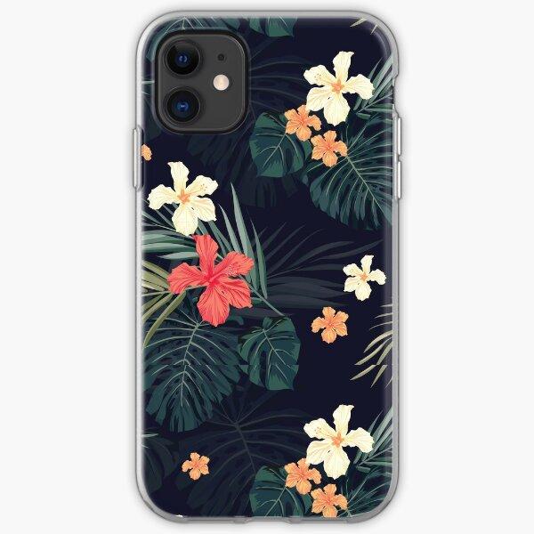 Dark tropical flowers iPhone Soft Case