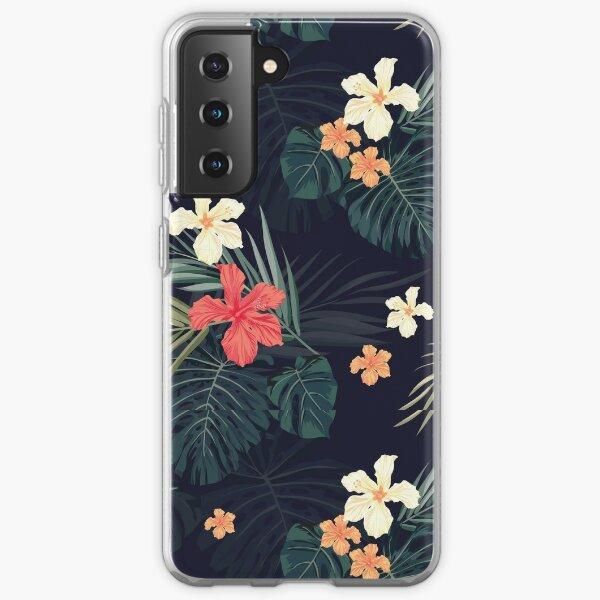 Dark tropical flowers Samsung Galaxy Soft Case