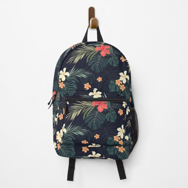 Dark tropical flowers Backpack
