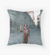 Medieval Fool Throw Pillow