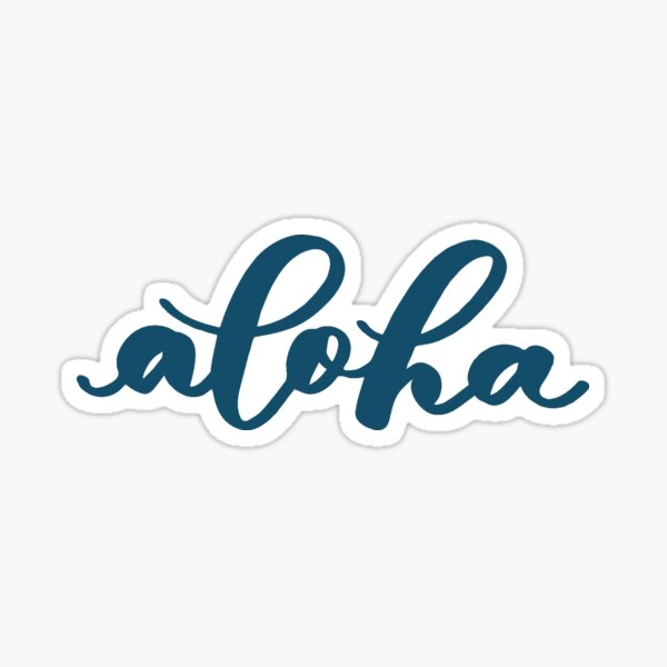 Aloha from Hawaii in Turquoise Brush Lettering Sticker