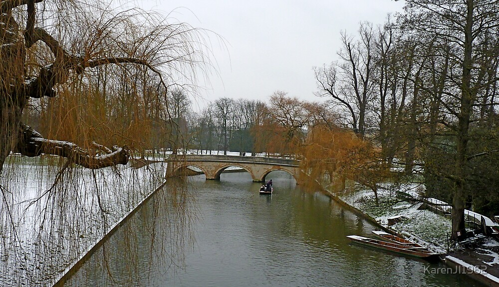 Winter snow at The Backs, Cambridge by KarenJI1962