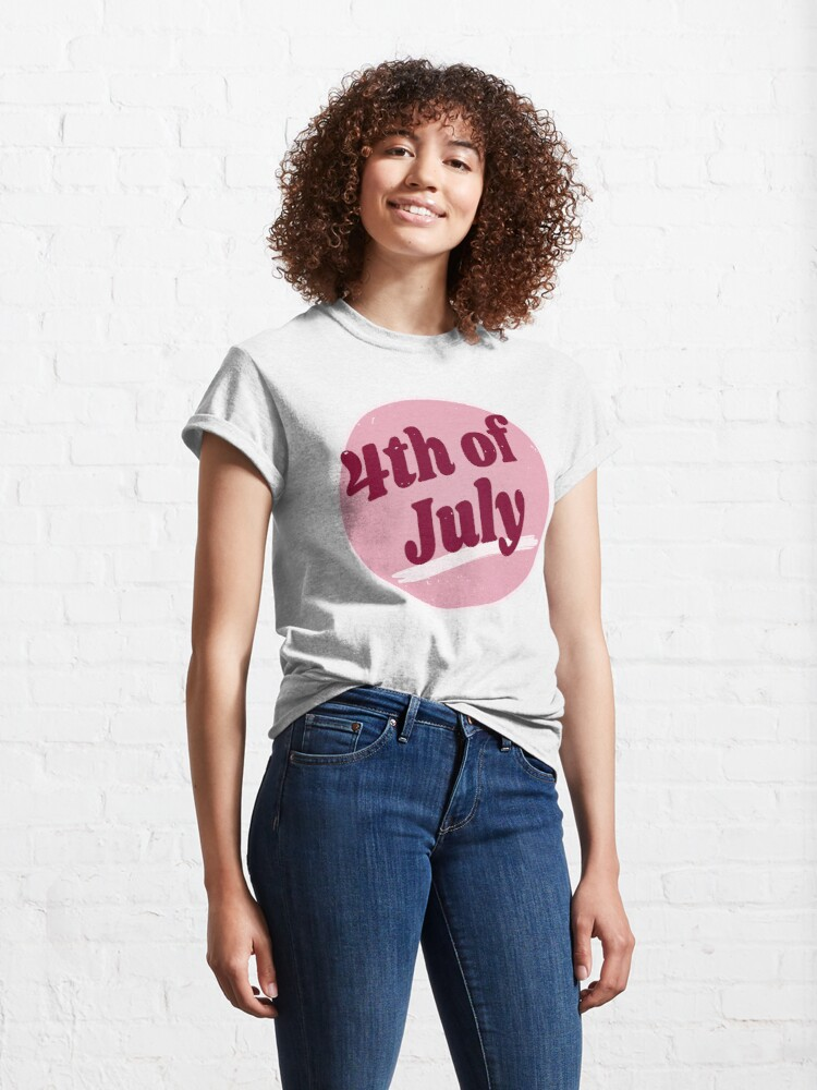Alternate view of 4th Of July (Happy 4th Of July - Independence Day - Vintage Retro Purple Pink) Classic T-Shirt