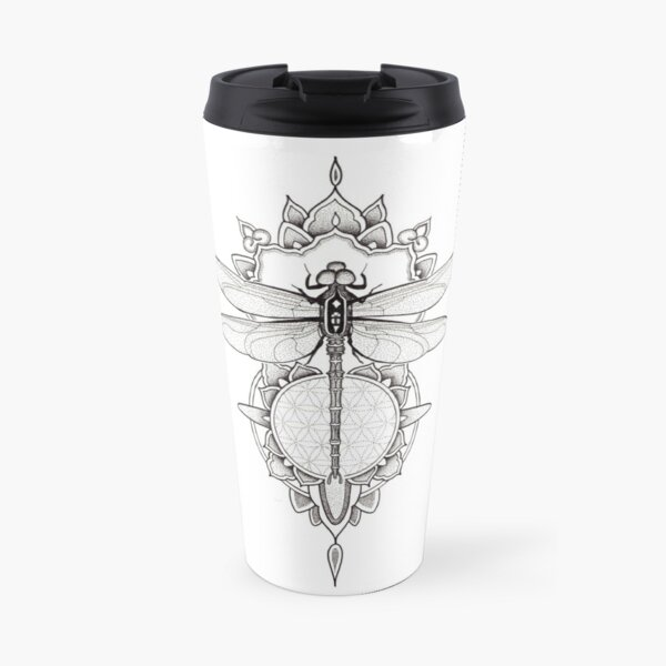 Dragonfly mandala in pen and ink dotwork Travel Mug