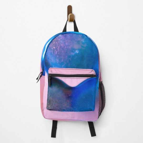 The design of a blue heart with a pink background  Backpack