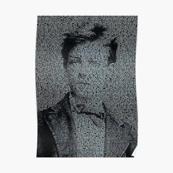 Arthur Rimbaud, le plus grand poète français dessiné par le texte de la Saison en enfer (version noire) Poster