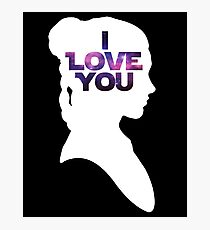 Star Wars Leia 'I Love You' White Silhouette Couple Tee Photographic Print