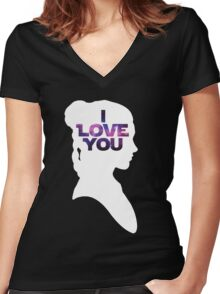 Star Wars Leia 'I Love You' White Silhouette Couple Tee Women's Fitted V-Neck T-Shirt