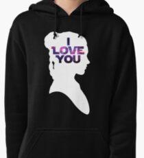 Star Wars Leia 'I Love You' White Silhouette Couple Tee Pullover Hoodie