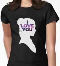 Star Wars Leia 'I Love You' White Silhouette Couple Tee Women's Fitted T-Shirt