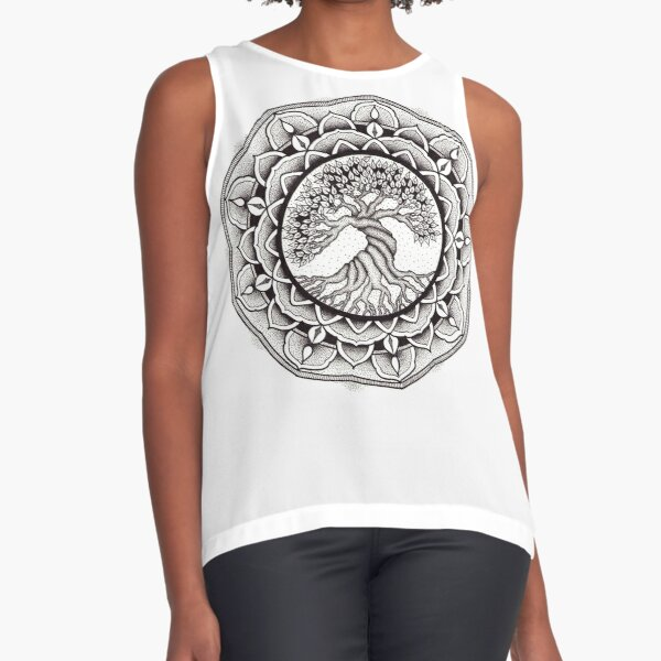 Tree of life mandala in pen and ink dotwork Sleeveless Top