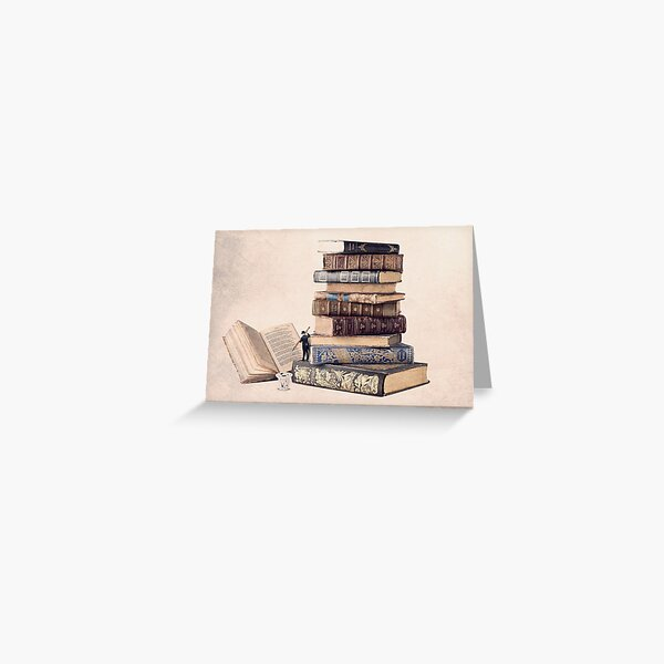 photo of book, illustration of old books Greeting Card