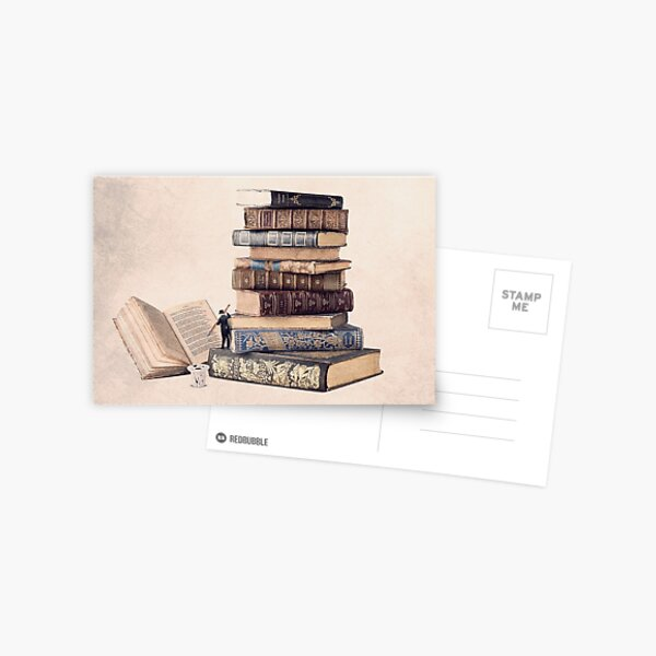 photo of book, illustration of old books Postcard