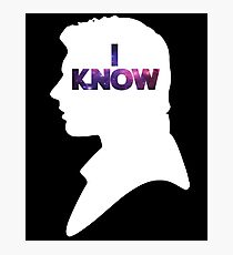 Star Wars Han 'I Know' White Silhouette Couple Tee  Photographic Print