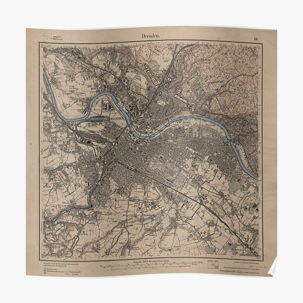 Vintage Map of Dresden Germany (1910) Poster