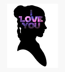 Star Wars Leia 'I Love You' Black Silhouette Couple Tee Photographic Print
