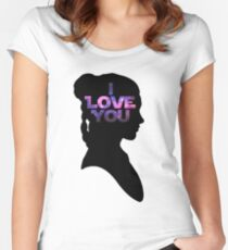 Star Wars Leia 'I Love You' Black Silhouette Couple Tee Women's Fitted Scoop T-Shirt