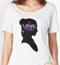 Star Wars Leia 'I Love You' Black Silhouette Couple Tee Women's Relaxed Fit T-Shirt