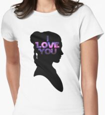 Star Wars Leia 'I Love You' Black Silhouette Couple Tee Women's Fitted T-Shirt