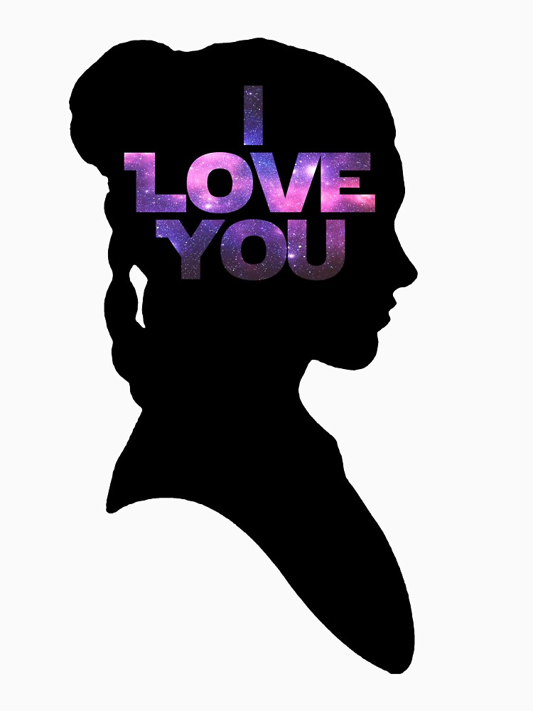 Star Wars Leia 'I Love You' Black Silhouette Couple Tee | Women's Fitted Scoop T-Shirt