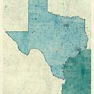 Texas Map Blue Vintage by HubertRoguski