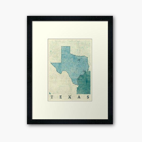 Texas Map Blue Vintage Framed Art Print