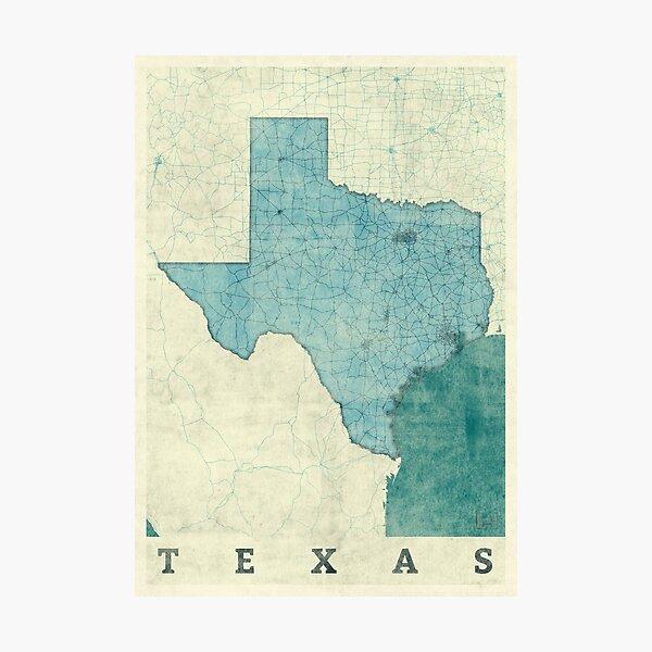 Texas Map Blue Vintage Photographic Print