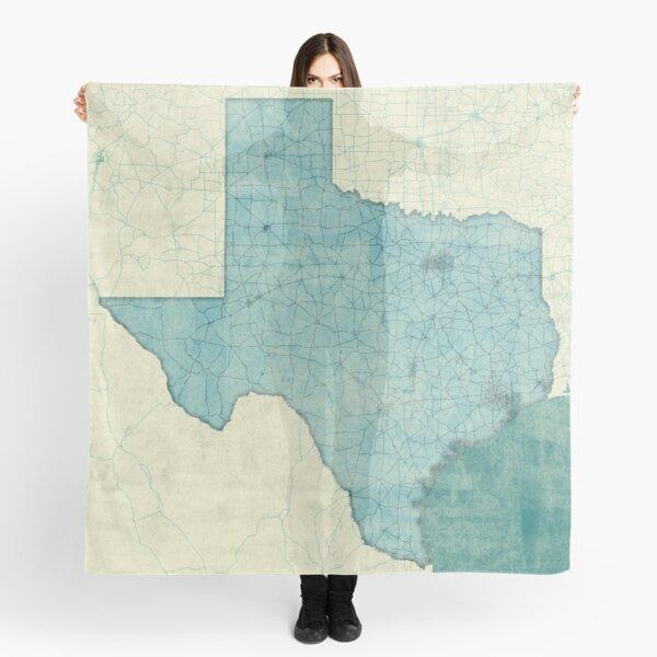 Texas Map Blue Vintage Scarf