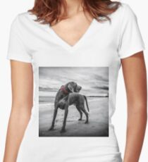 Weimaraner Women's Fitted V-Neck T-Shirt