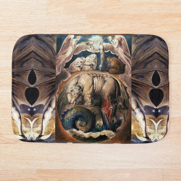 Behemoth and Leviathan , Earth and Sea Monsters Bath Mat