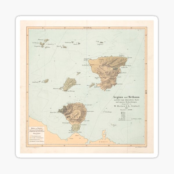 Vintage Aegina & Methana Greece Map (1866) Sticker