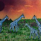 Blue Giraffes by George Hunter