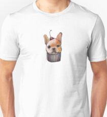 """Cherry on Pup"" Frenchie Cake Pattern Unisex T-Shirt"