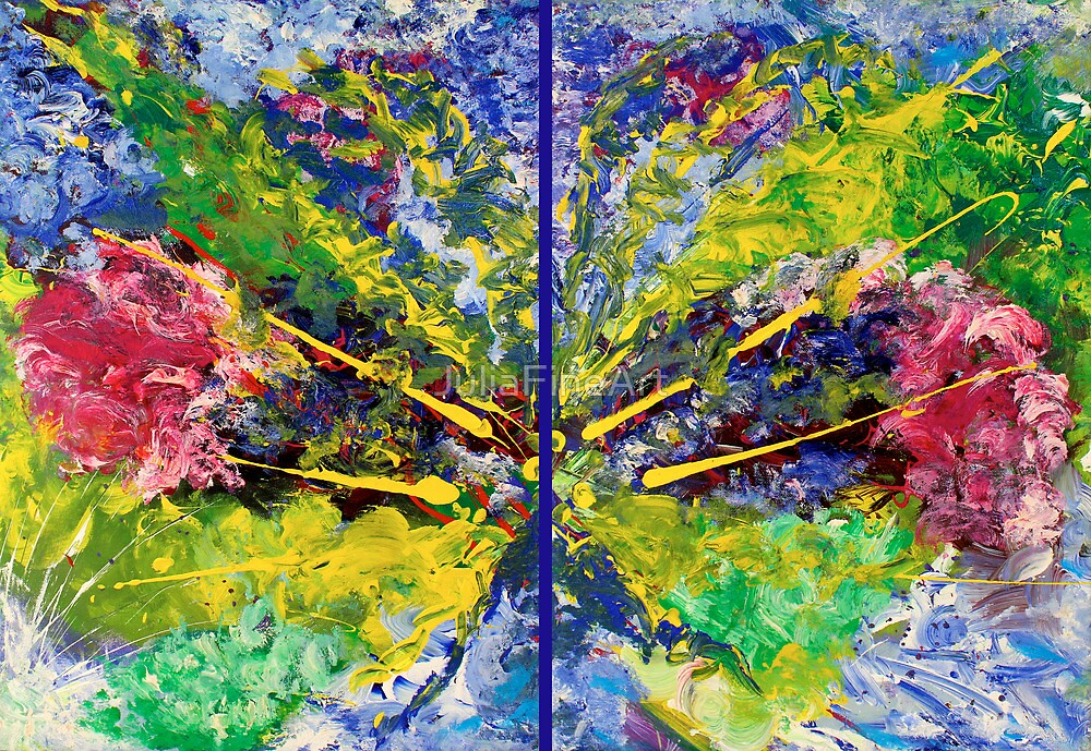 Contemporary Abstract Diptych by JuliaFineArt