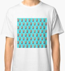 """Cherry on Pup"" Frenchie Cake Pattern Blue Classic T-Shirt"