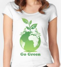 Go Green T-Shirt Women's Fitted Scoop T-Shirt