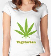Vegetarian Pot Leaf T-Shirt Women's Fitted Scoop T-Shirt