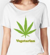Vegetarian Pot Leaf T-Shirt Women's Relaxed Fit T-Shirt