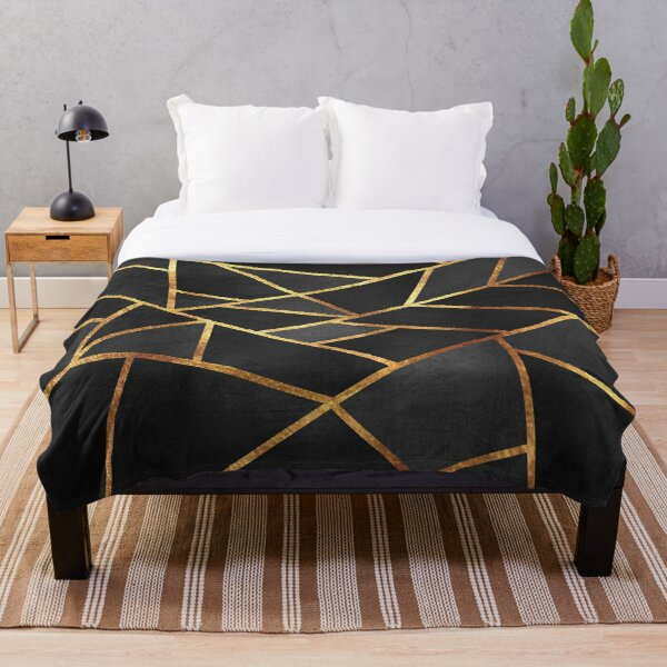 Black Gold Stone Geometric Throw Blanket