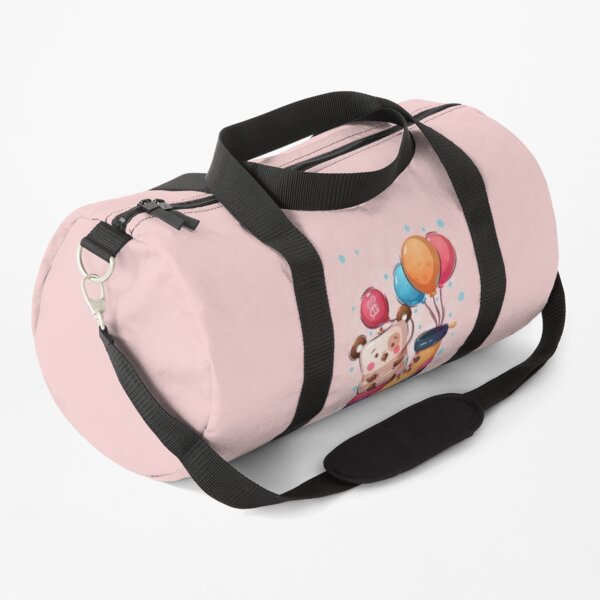 Bear with balloons sitting on the big shoe Duffle Bag