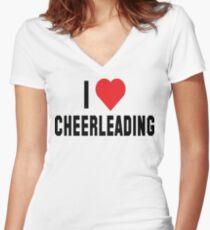 I Love Cheerleading Women's Fitted V-Neck T-Shirt