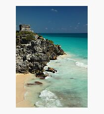 Mayan Temple and Turquoise Caribbean Sea Photographic Print