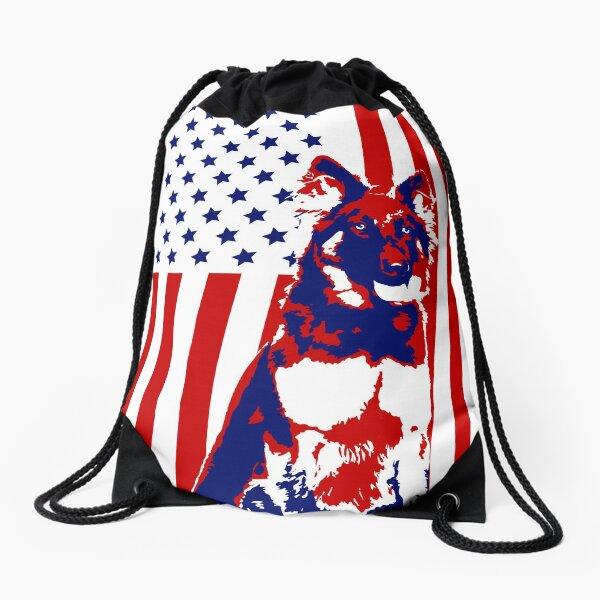 German Shepherd 4th of July American Flag Illustration Drawstring Bag