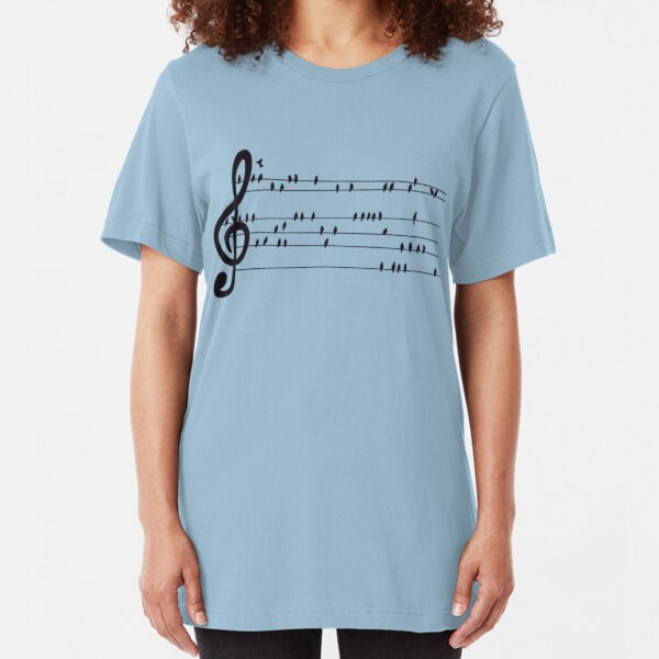 SHEET MUSIC PULSE Orchestra Instrument Love Notation Womens Ladies T-Shirt Top
